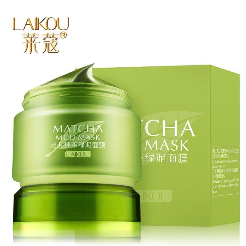 1 יחידות LAIKOU MATCHA בוץ מסכת פנים מסכות אקנה טיפול מאשים שמן חטט הסרת עמוק נקבוביות ניקוי אורגני ירוק תה מסכה