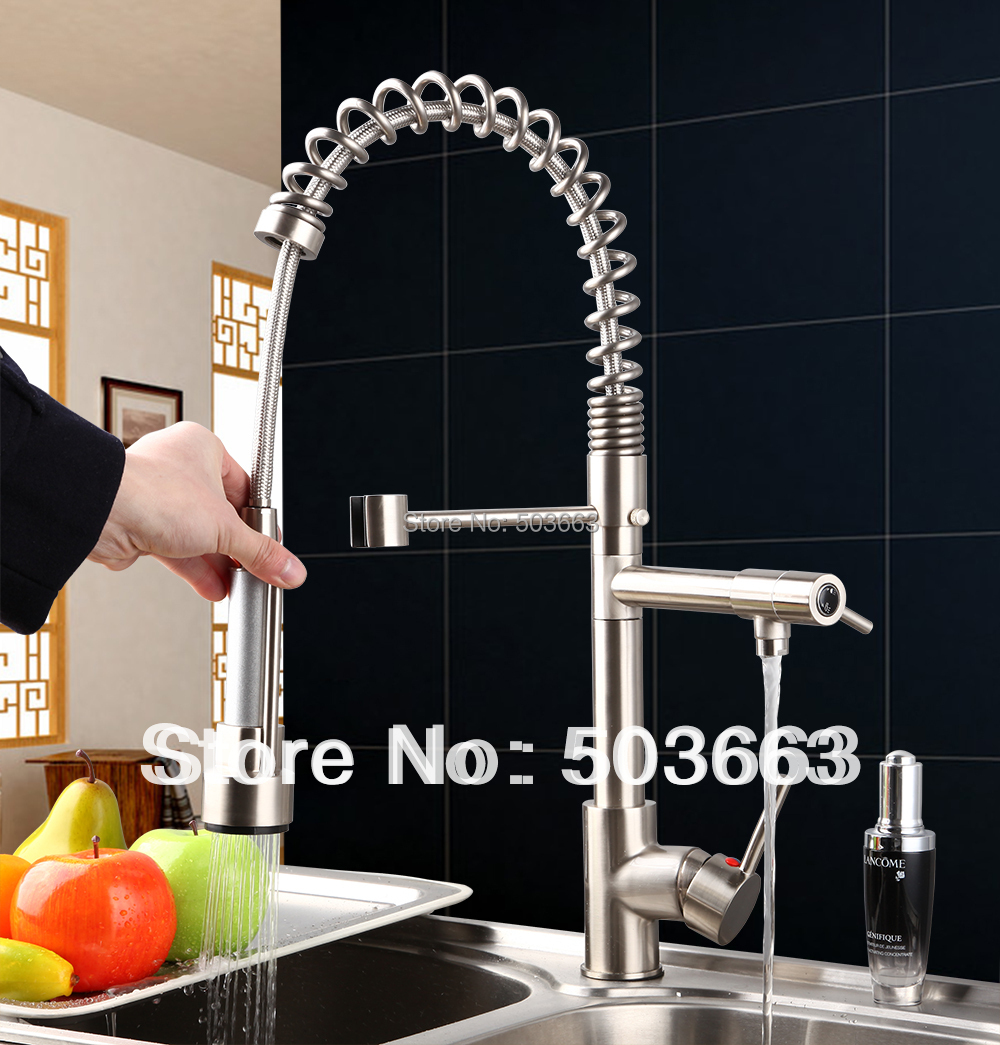 Best Sales Brass Water Kitchen Swivel Spout Pull Out Vessel Sink Single Handle Deck Mounted MF-289 Mixer Tap Faucet Faucet new double handles free chrome brass water kitchen faucet swivel spout pull out vessel sink single handle mixer tap mf 279