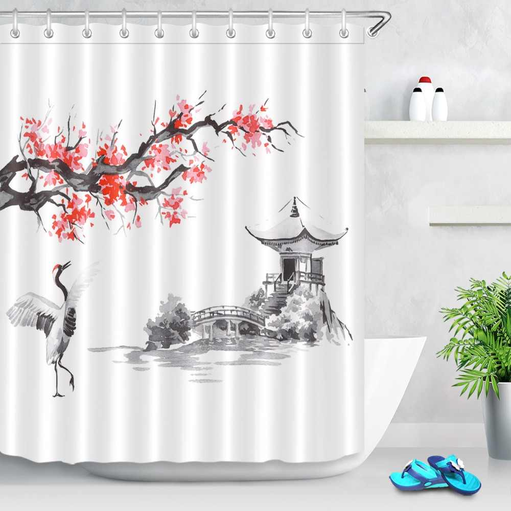 LB Japan Traditional Sumi-e Painting Sakura Pavilion Crane Shower Curtains Waterproof Bathroom Curtain Fabric For Bathtub Decor