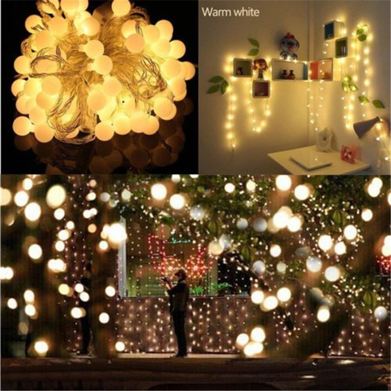 10M EU Plug 220v fairy string led light with ball for home garden holiday wedding christmas outdoor decor lights free shipping in LED String from Lights Lighting