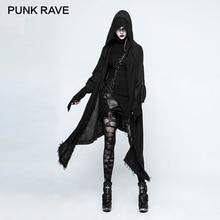 PUNK RAVE 2017 New Gothic Black Witch Asymmetric Trench Autumn Female Coat Long Loose Death Cloak Coats Windbreaker Raincoat