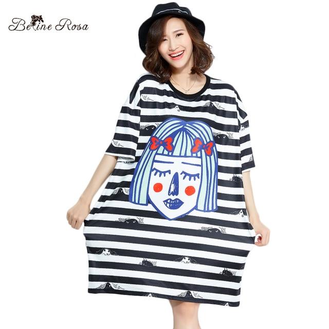 1be6df7549b7d BelineRosa 2018 Fashion Women Ladies Tunic Girls Face Printing Striped T-shirt  Dress Female 3XL 4XL TYW00816