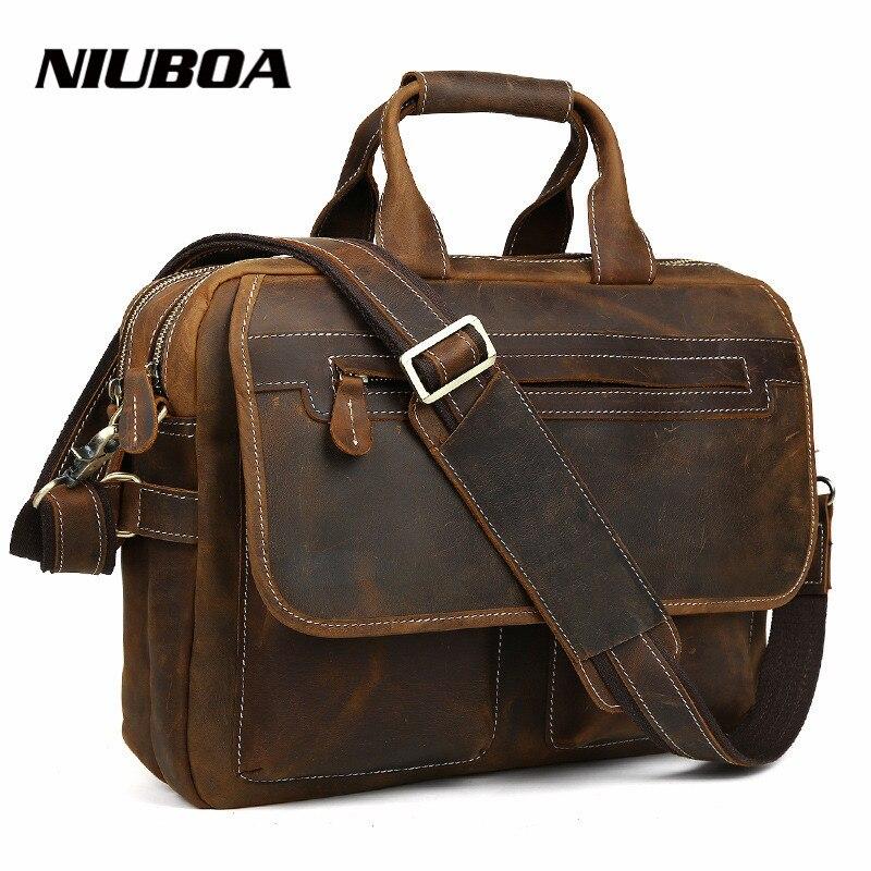 NIUBOA 100% натуральная кожа мужская сумка Crazy Horse кожаные сумочки винтажная деловая сумка на плечо для ноутбука портфель сумка мессенджер