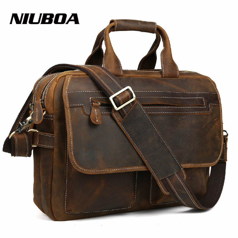 NIUBOA 100% Genuine Leather Men Bag Crazy Horse Leather Handbags Vintage Business Shoulder Bag Laptop Briefcase Messenger Bag niuboa 100