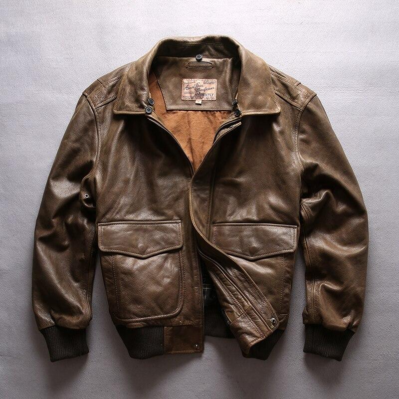 HTB1Y1GGFuuSBuNjSsziq6zq8pXaQ AVIREX FLY 2018 Genuine Leather jacket Men Bomber Jacket Fur Collar Cowskin Short Air Force Flight Jacke Vintage Winter Coat