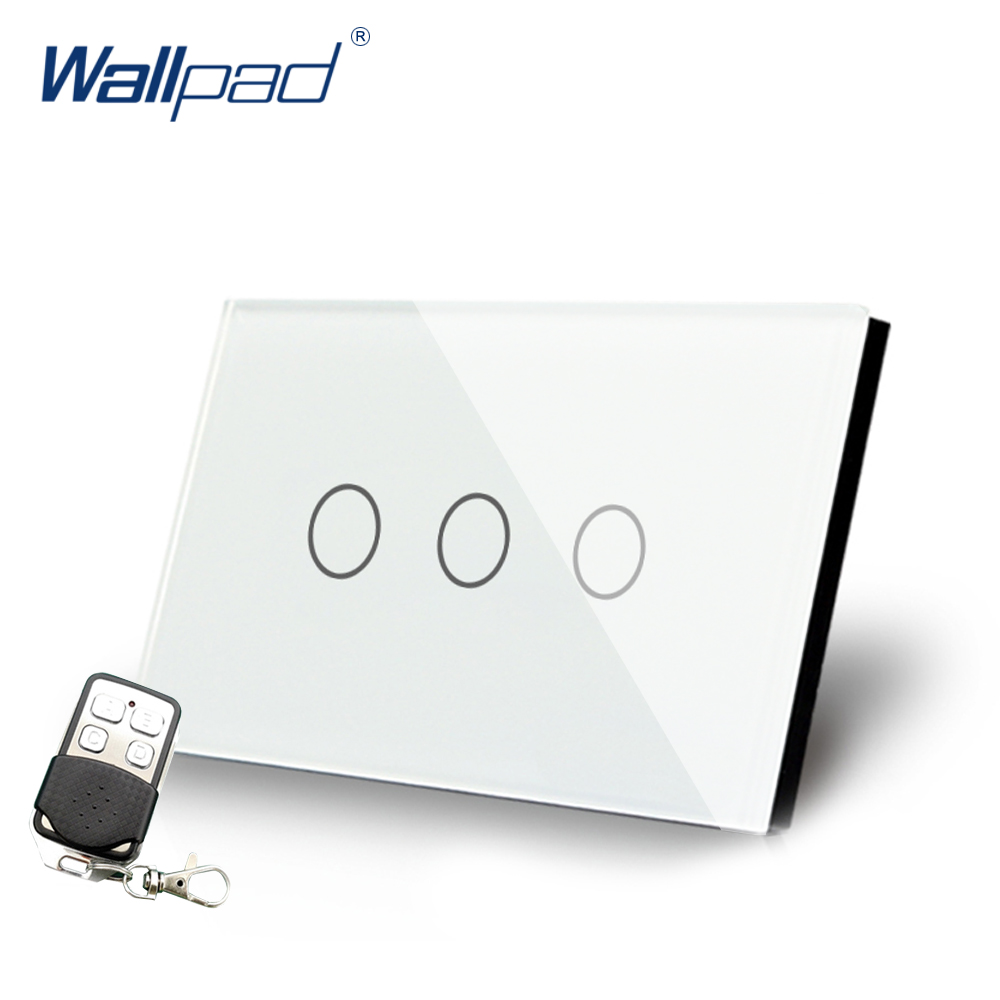 White 3 Gang Remote Control Light Switch Crystal Glass Screen Switch Wallpad Luxury US/AU LED Touch Switch with Remote ControlWhite 3 Gang Remote Control Light Switch Crystal Glass Screen Switch Wallpad Luxury US/AU LED Touch Switch with Remote Control