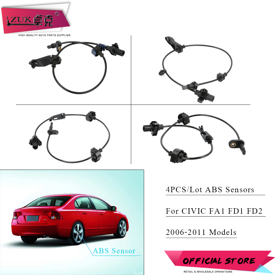 ZUK 4PCS lot ABS Sensors For HONDA CIVIC FA1 FD1 FD2 2006 2007 2008 2009 2010