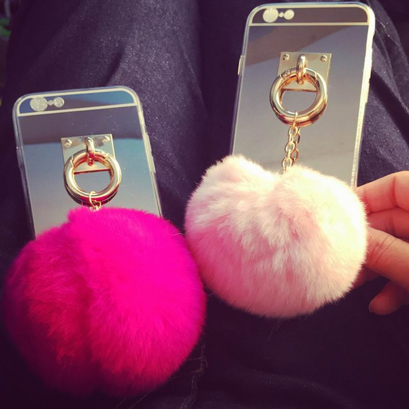 pretty nice d5f4d 2e4cc US $2.75 |Newest Fashion Luxury Metal Rope Mirror TPU phone Cases Cute  Rabbit Fur Ball For iPhone6 6S 6 Plus 5 5S Cover For iphone 6 Case on ...