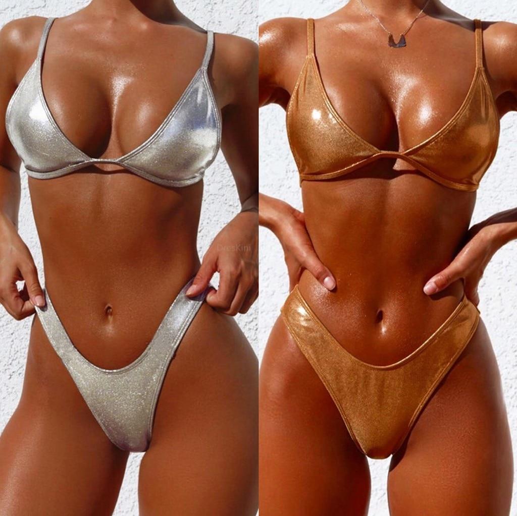 Sexy Shiny Gold/Silver Metallic Leather Scoop Neck Biquini Bathing Suit Swimsuit Plus Size Swimwear Women Brazilian Bikini