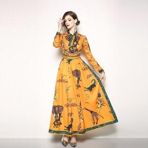 Image 3 - Vestido largo con estampado Animal para mujer, vestido largo elegante con cuello de lazo, longitud hasta el suelo, para playa y vacaciones