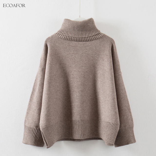 1f75132dbfd5b6 Thick High Neck Sweater Women Winter Solid Warm Pullovers Side Vent Slit Loose  Jumper Female Oversize
