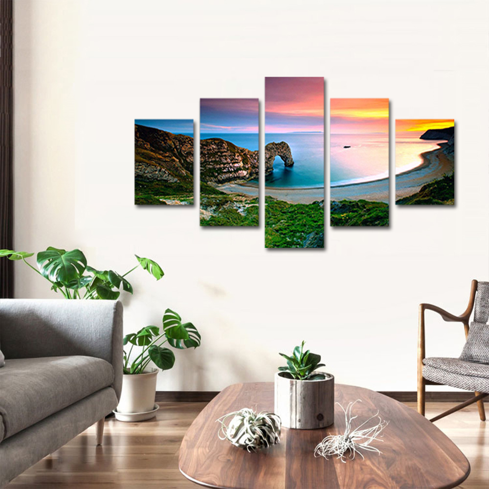 Unframed Canvas Painting Sunset Seawater Beach Reef Landscape Photo Prints Wall Pictures For Living Room Wall Art Decoration