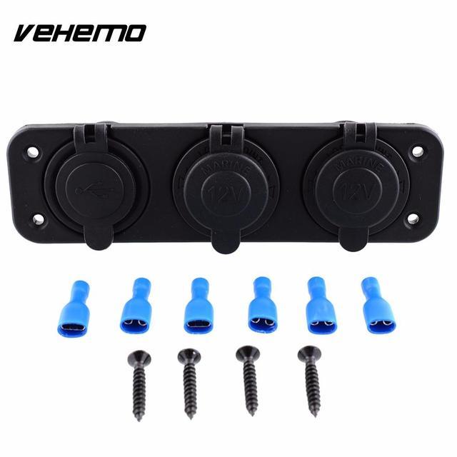 Vehemo DC 12V/24V 3 Port Motorcycle Motorbike tractor Car Charger Socket Splitter Cigarette Lighter USB Plug
