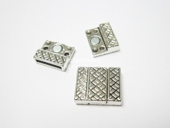 15x2mm Flat magnetic clasp intersect pattern Flat leather cord connector