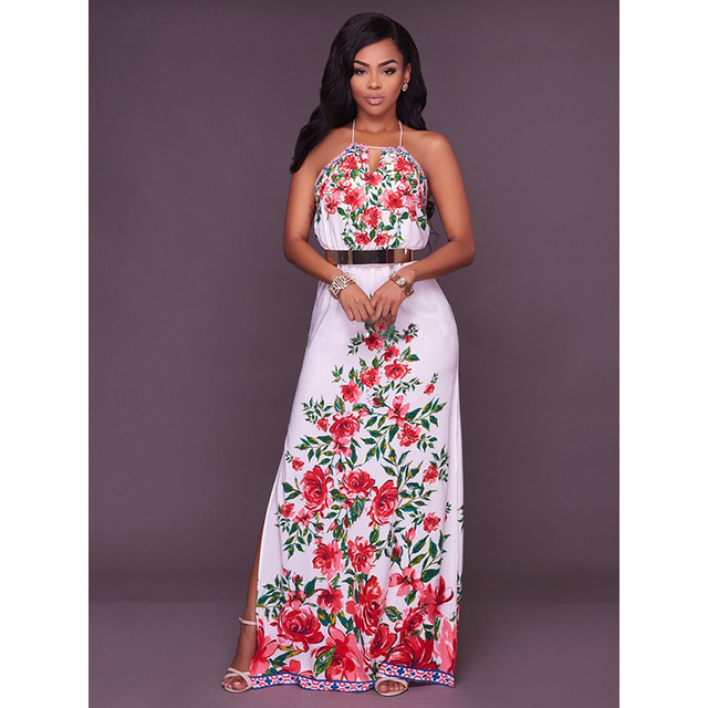 89104ed47f8d7 Wonder beauty Boho Style Long Dress Women Halter Off Shoulder Beach Summer  Floral Print Vintage Maxi Dress Vestidos De Festa