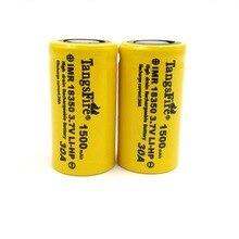 2pcs TangsFire IMR 18350 1500mAh 3.7V 30A Rechargeable battery High Drain Battery-Flat Top