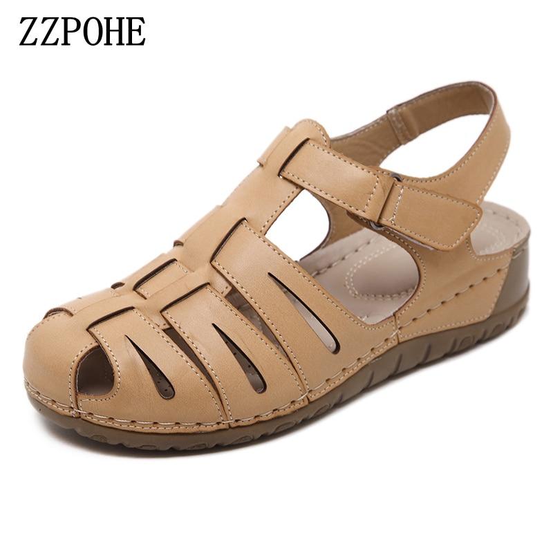 ZZPOHE Summer Fashion Sandals Woman Platform soft leather large size Flip Flops sandals casual comfortable womens shoes