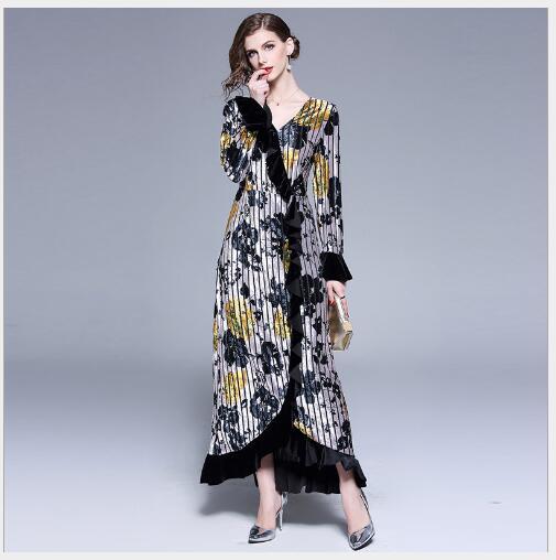 7e9190eb15f À Manchettes Robe Fit Longues Patchwork Mode Col V 2019 Femmes Printemps  Black Slim Casual Nouveau Style Féminine Manches ...