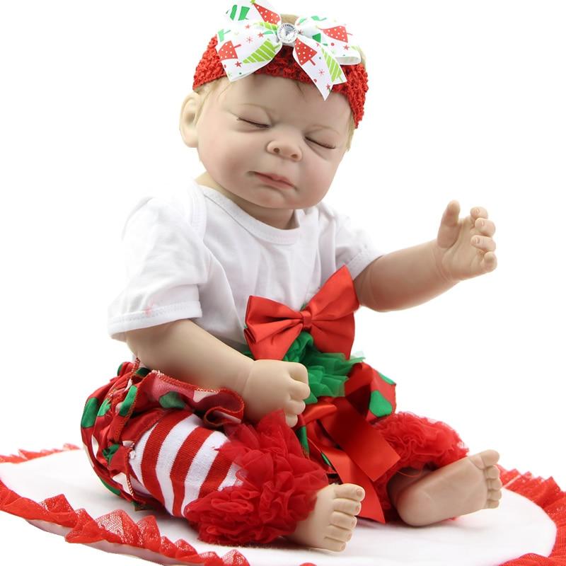 цены  Alive Lifelike Reborn Girl Babies Silicone Vinyl Full Body Newborn Baby Dolls 20 Inch Realistic Waterproof Kids Bedtime Toy