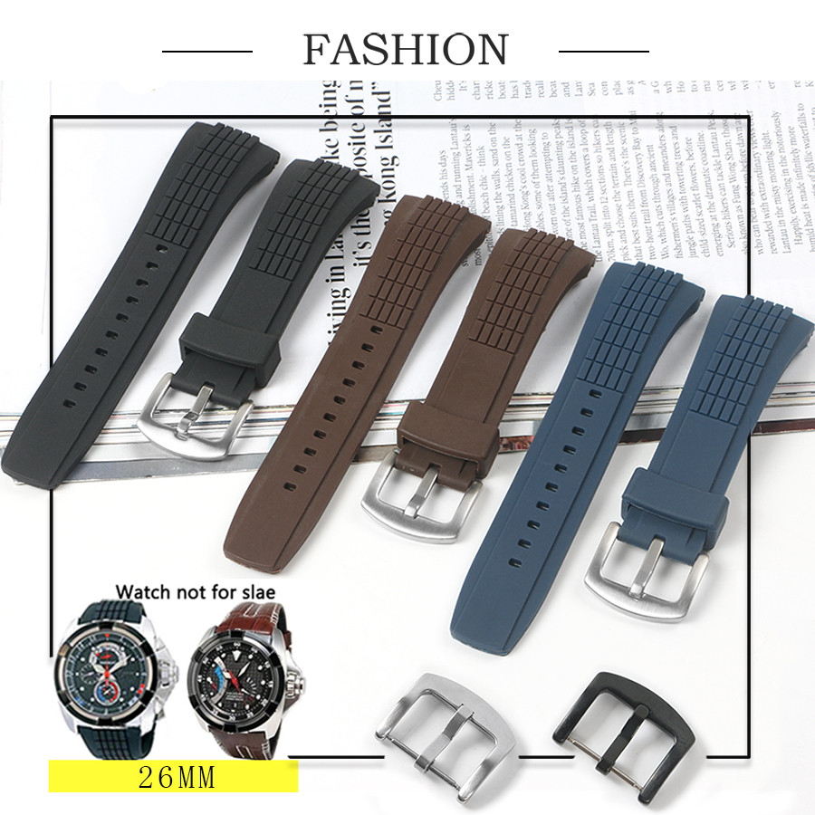 Black 26mm Nature Soft Durable Rubber Stainless Steel Pin Buckle Strap Fit For Seiko VELATURA/SRH SCPC077 CPC077 WatchStrap+Tool