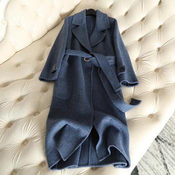 100% Cashmere 2018 Autumn New Double Faced Cashmere Coat Alpaca Coat Women's Long Wool Coat Slim Female Overcoat Blue Jacket