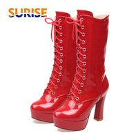 Winter Women Mid Calf Boots Platform Chunky High Heels Round Toe Patent Leather Plush Front Lace Zipper Martin Ladies Half Boots