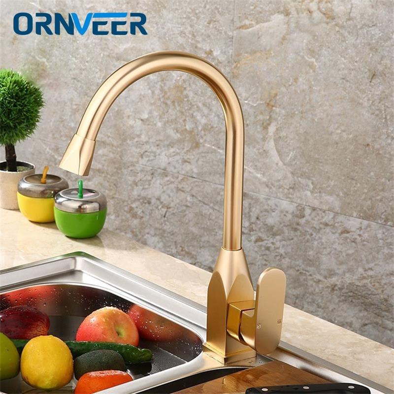 ORNVEER or blanc cuisine robinet espace aluminium or mitigeur eau chaude froide evier bassin robinet mitigeur Torneira Cozinha