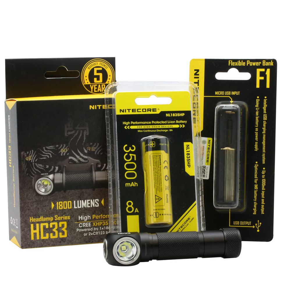 NITECORE HC33 1800Lumens Headlamp + F1 Power Bank Charger + 18650 Battery Headlight Waterproof Flashlight Outdoor Camping Search антенна texas 1800 power где