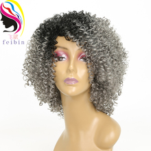 Feibin Afro Kinky Wig Curly Wigs Synthetic Short Wig for Black Women Short Hair Ombre Hair 14 Inch