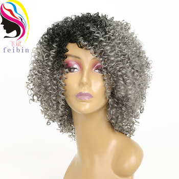 Feibin Afro Kinky Wig Curly Wigs Synthetic Short for Black Women Hair Ombre 14 Inch - discount item  36% OFF Synthetic Hair