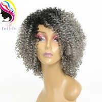 Feibin Afro Verworrene Perücke Lockige Perücken Synthetische Kurze Perücke für Schwarze Frauen Kurze Haare Ombre Haar 14 Zoll
