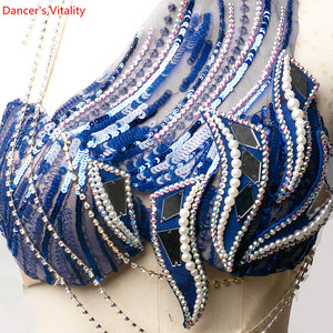 Image 3 - New Belly Dance Set Sexy Autumn And Winter New Sequin Embroidery High End Custom Oriental Competition Blue Suit
