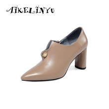 AIKELINYU Fashion 2019 Pumps Women Genuine Leather High Heels Party Wedding Shoes Woman Pointed Toe Spring Autumn Office Pumps цены онлайн