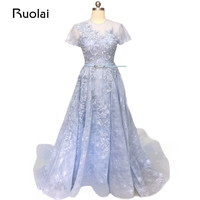 Real Image Light Blue Prom Dresses Long A Line Flower Lace Beaded Evening Dresses Formal Party