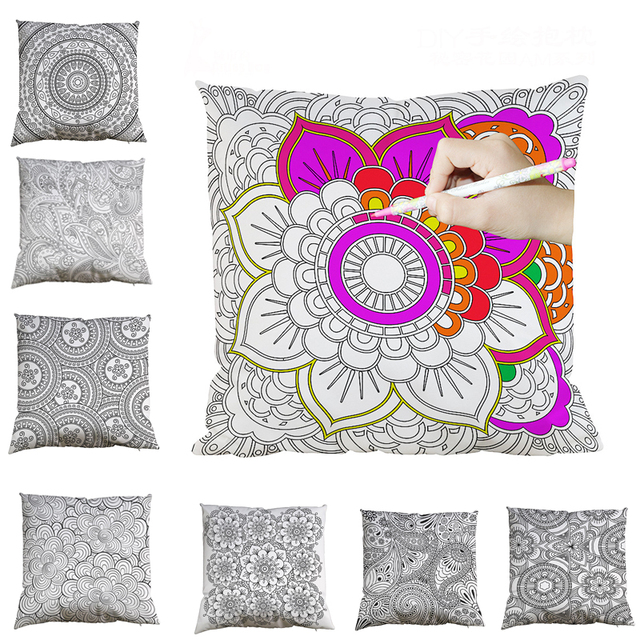 40cm Cushion Cover Diy Color Graffiti Mandala Pillow Cover Home Extraordinary How To Make A Decorative Pillow Case
