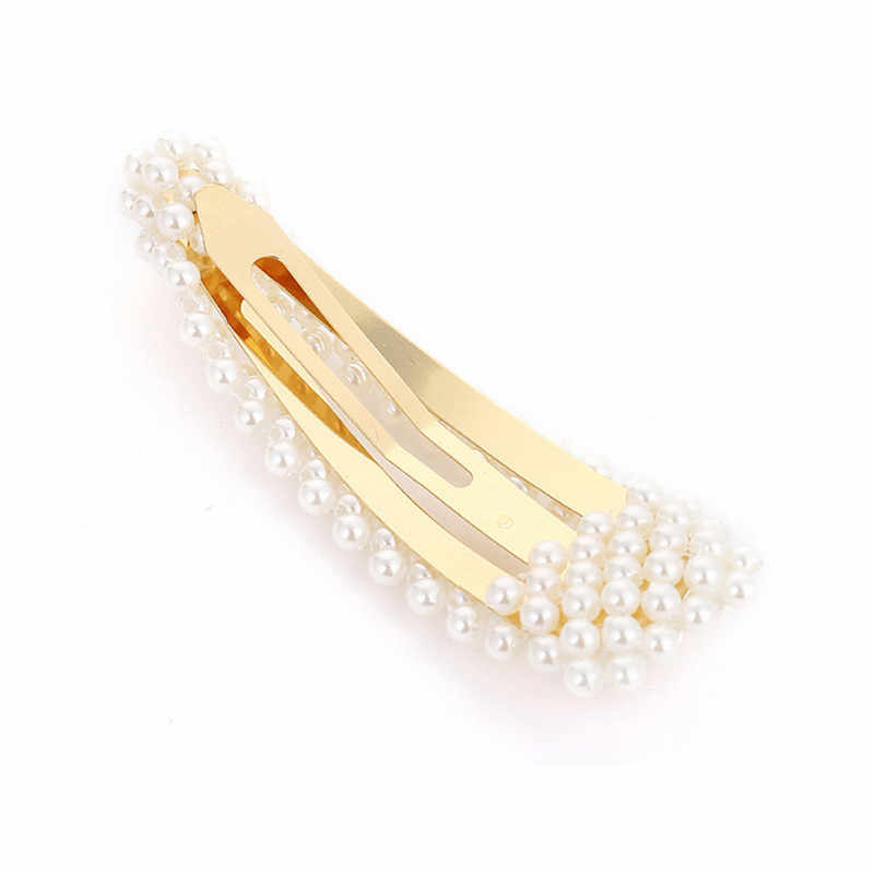 De las mujeres de la moda llenos de perlas pelo Clips Snap Barrette palo horquillas herramientas para peinar el cabello accesorios para el cabello de Hairgrip regalo