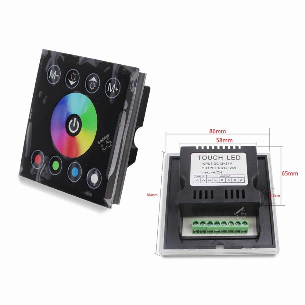 Dc12v 4a * 4ch negro panel de vidrio templado pantalla táctil digital dimmer interruptor de la luz de la pared para rgbw LED tira cintas 4 canal