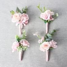 High quality pink bride groom bridesmaids corsage with silk ribbon wedding corsages prom photography props
