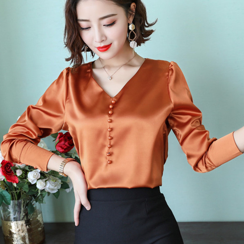Women Tops and Blouses Casual Silk Blouse Long Sleeve Blusa Feminina Tops Shirts Solid Plus Size XXXL Elegant Blouse Ladies Tops