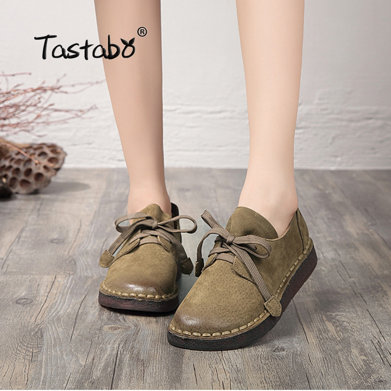 Tastabo Genuine Leather Flat Shoe Pregnant Women Shoe Mother Driving Shoe Female Moccasins Fashion Women Flats Hand-Sewing Shoes
