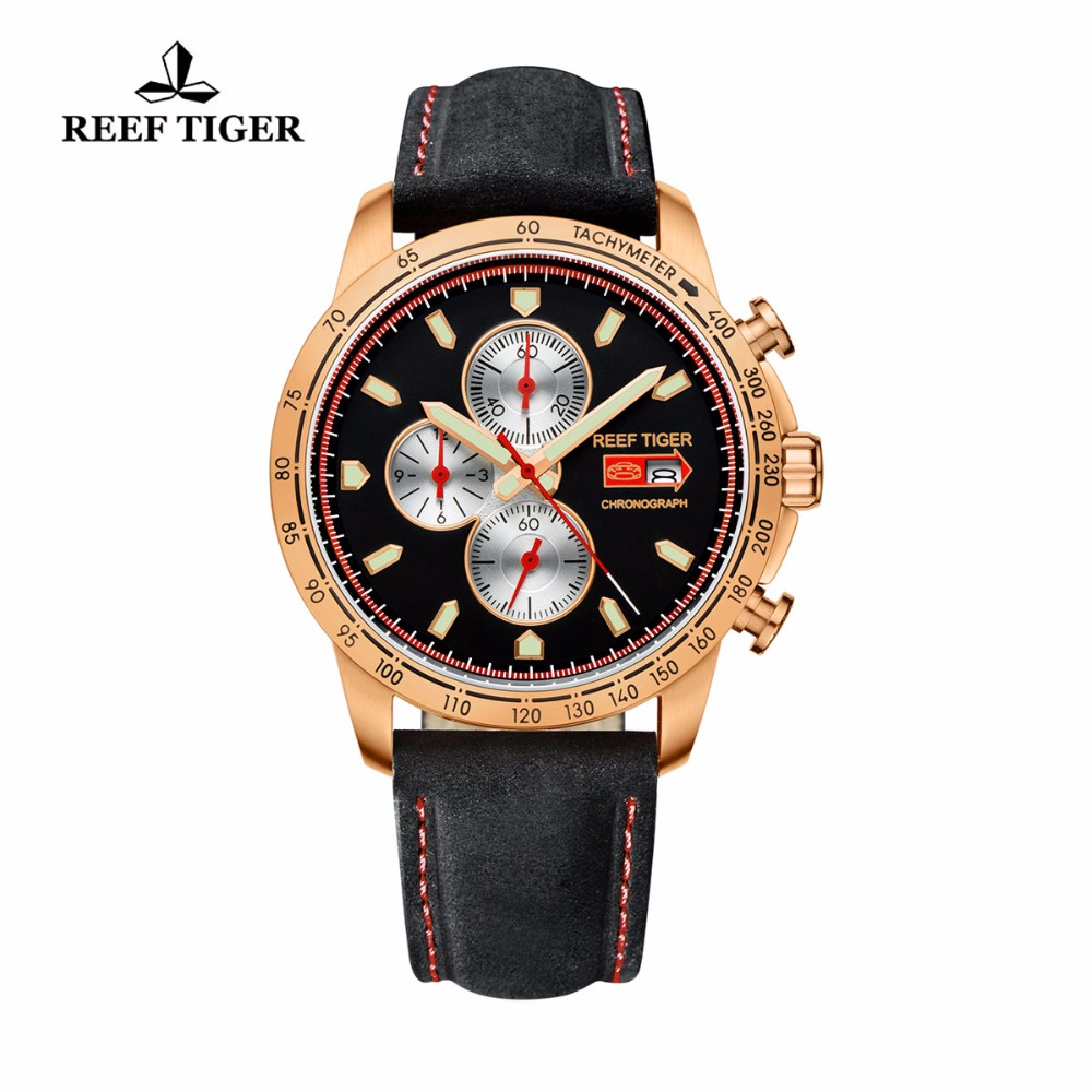 Reef Tiger / RT Sport órák férfiak számára Chronograph Quartz Watch olasz borjúbőrrel és Super Luminous Watch RGA3029
