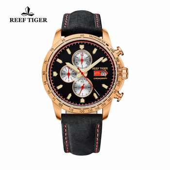 Reef Tiger/RT Sport Watch for Men Chronograph Quartz Watch With Italian Calfskin Leather And Super Luminous Watch RGA3029 - DISCOUNT ITEM  30 OFF Watches