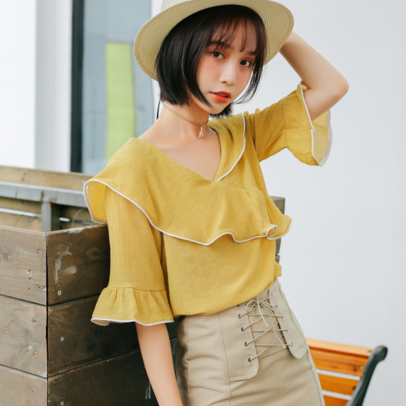 Summer Womens Fashion Beach Casual V Neck Tops and Blouses Elegant Ruffles Half Sleeve Shirt Ladies Blusa feminina dames ropa in Blouses amp Shirts from Women 39 s Clothing