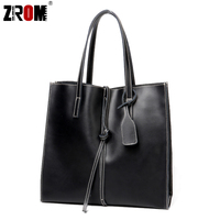 ZROM Genuine Leather Handbags Big Women Totes Bags Real Leather Female Fashion Designer High Quality Office Ladies Shoulder Bags