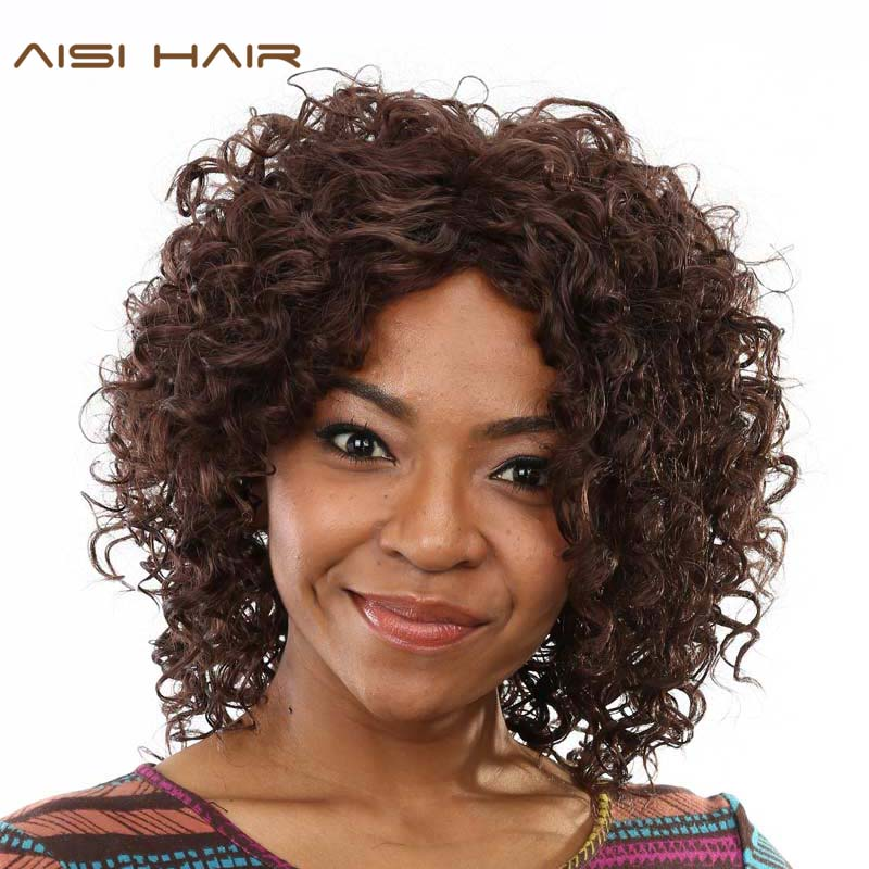 AISI HAIR Afro Kinky Curly Wigs For Black Women Synthetic Dark Brown African Heat Resistant Short