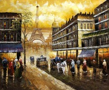 Canvas Oil painting Paris Street,Deocrative painting,Evenings Delight In Paris,High quality,hand-painted,Free shipping