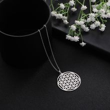 Skyrim Flower of Life Round Pendant Necklace Stainless Steel Custom Choker Chain Necklaces Jewelry Gift for Women Girls