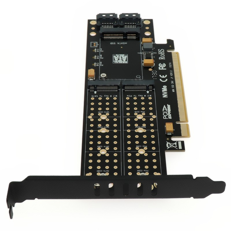 PCIE to M2 Adapter Raiser PCI E 3 0 X16 to M 2 SSD M Key B Key mSATA 2 x 7Pin SATA Port NVME M2 SSD AHCI mSATA 3 in 1 Riser Card in Add On Cards from Computer Office