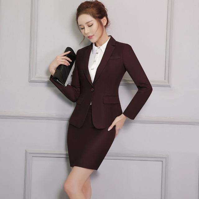 Новая зимняя одежда с длинными рукавами женщин из двух частей деловой костюм воротник юбка Тонкий tooling-do828