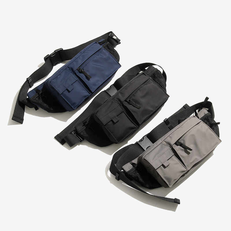 Nylon hommes sac à bandoulière étanche poitrine sacs décontracté Multi poches messager épaule dos multi-fonction taille poche